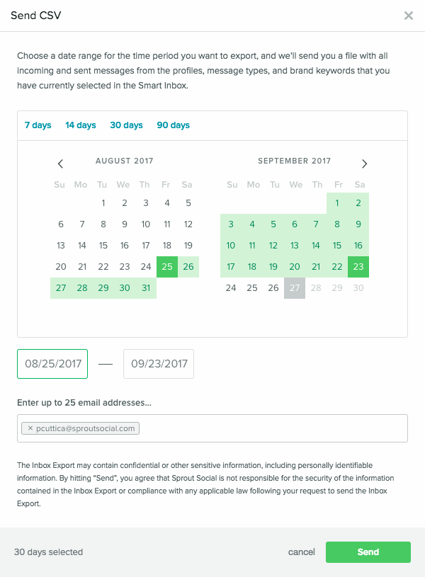 Inbox Export – Sprout Social Support