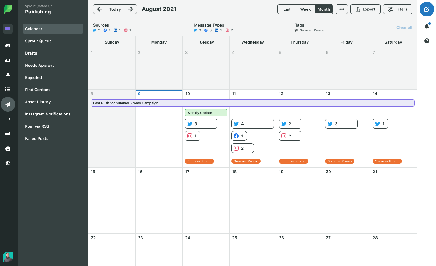 A screenshot of Sprout Social Campaign Calendar view, which shows upcoming posts across channel.